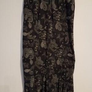 Cotton/corduroy mid-length Paisley skirt